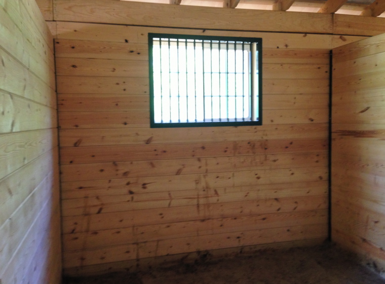 inside of boxstall. Window to exterior protected with power-coated steel grill