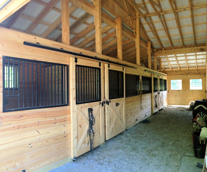 Stalls built with tongue and groove pine boards